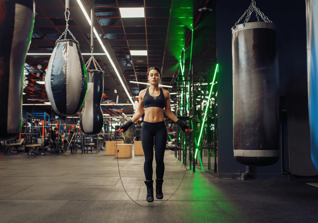 boxe, boxeuse, entrainement, corde a sauter, jumping rope