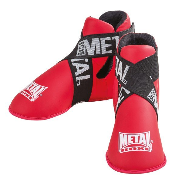 protection, pieds, combat, kickboxing, full contact, metal boxe, boxe, rouge